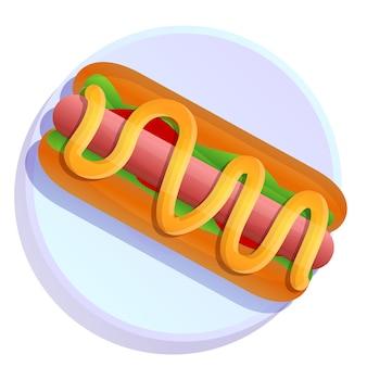 Piatto di cartone animato con hot dog