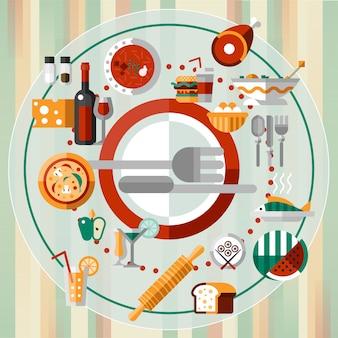 Piatto di icone di cibo