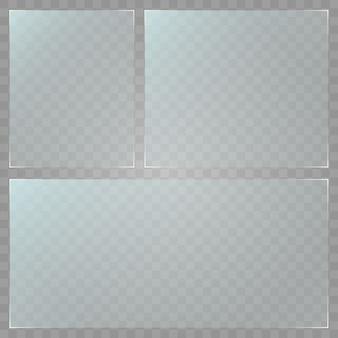 Piatto di vetro . struttura in acrilico e vetro con riflessi e luce. finestra di vetro isolata