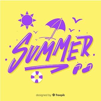 Piatto estate lettering sfondo con spiaggia