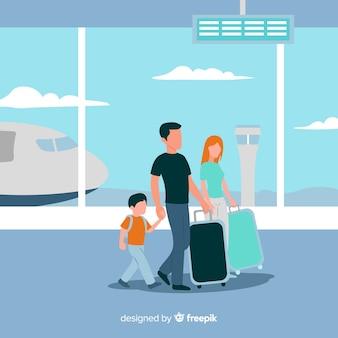 Piatto famiglia felice che viaggiano sullo sfondo