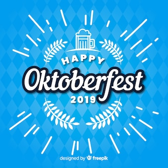 Piatto felice oktoberfest 2019 su tonalità blu