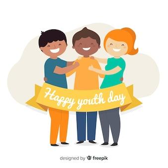 Piatto giorno gioventù sfondo con i giovani
