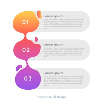 Piatto infografica numerata colorata