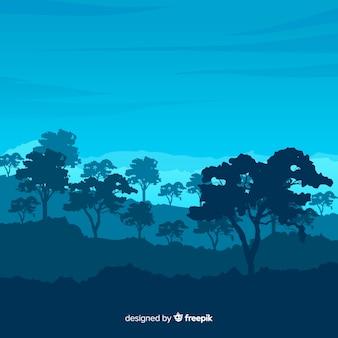 Piatto paesaggio naturale con alberi