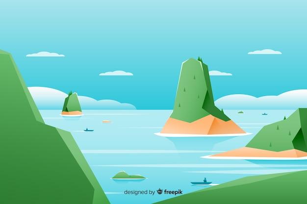 Piatto paesaggio naturale con colline