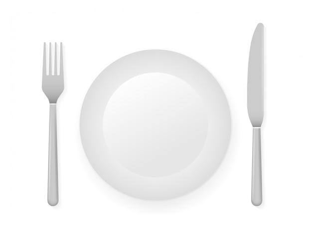 Piatto piano, coltello e forchetta