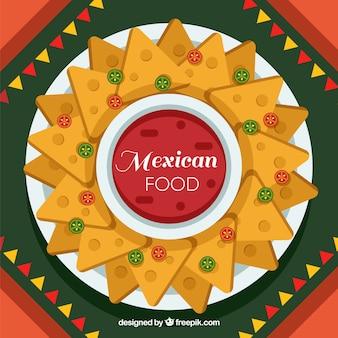 Piatto sfondo cibo messicano con nachos