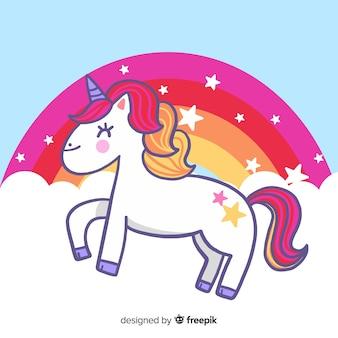 Piatto sfondo colorato con bellissimo unicorno