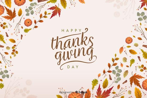 Piatto sfondo del ringraziamento con foglie secche