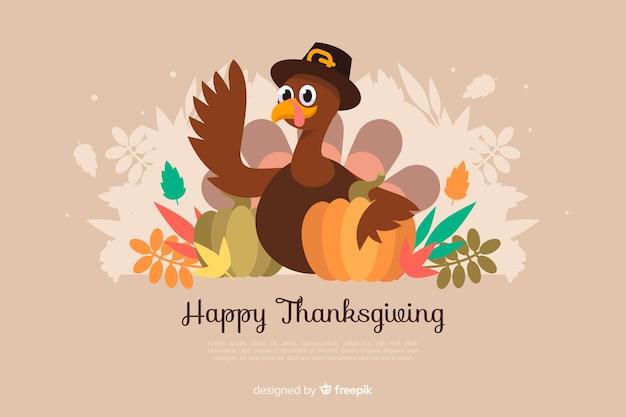 Piatto sfondo del ringraziamento con la turchia