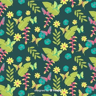 Piatto tropicale foglie e fiori sfondo