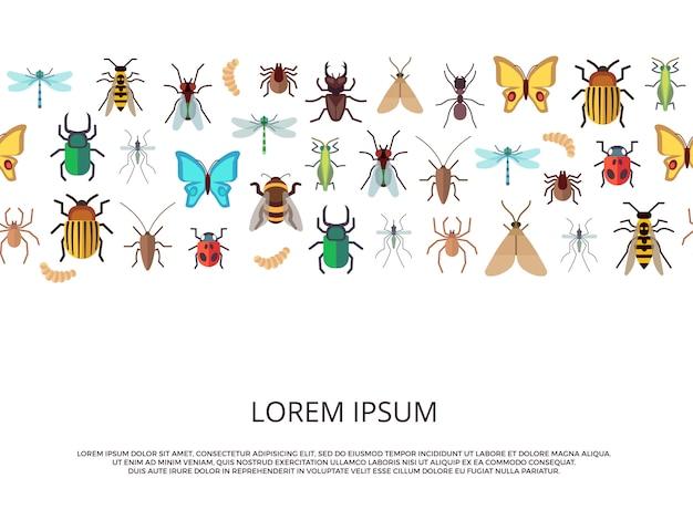 Piatto vettoriale insetti sfondo o modello di banner