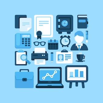 Piatto vettoriale ufficio e icone di affari