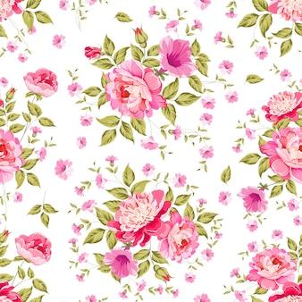 Picchiettio senza giunte di rose in fiore per carta da parati