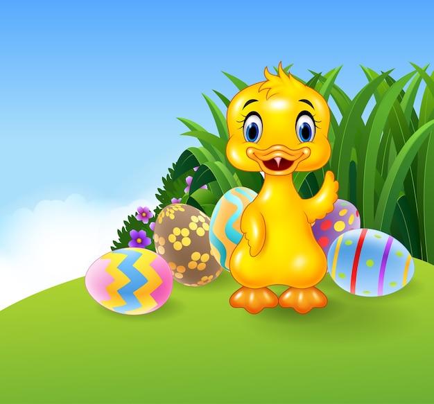 Piccola anatra sveglia con le uova di pasqua colorate