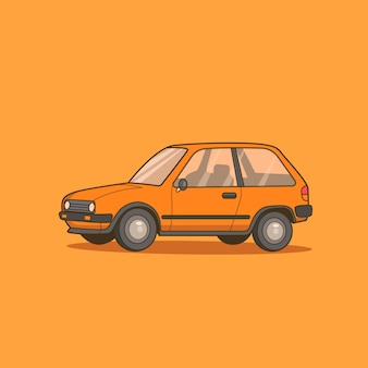 Piccola automobile berlina arancione isolata sull'arancia