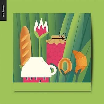 Piccola casa della tazza e pasto del tee sugli steli che crescono fra la grande carta dei tronchi d'erba