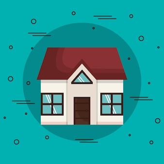 Piccola casa su sfondo verde acqua. illustrazione vettoriale