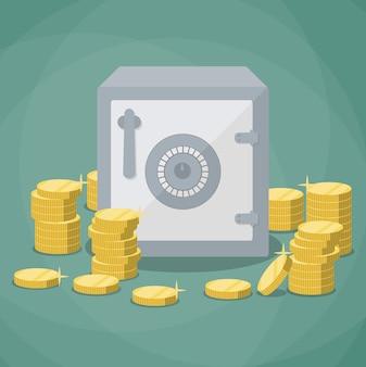Piccola cassetta di sicurezza chiusa e pile di monete d'oro