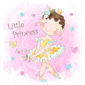 Piccola dolce principessa. ragazza con uccelli