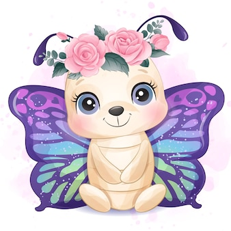 Piccola farfalla sveglia con l'illustrazione dell'acquerello