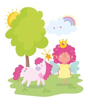 Piccola fata principessa con bacchetta magica e fumetto di unicorno