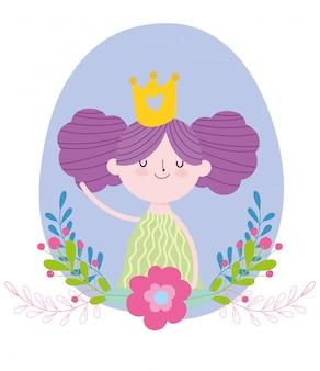 Piccola fata principessa con corona d'oro fiori racconto cartoon