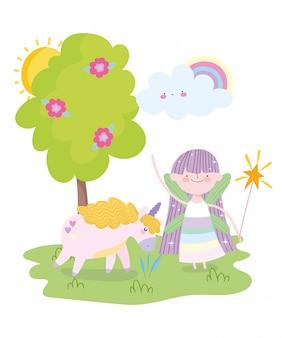 Piccola fata principessa con unicorno magico