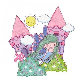 Piccola fatina carina con castello nel campo