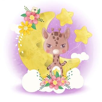 Piccola giraffa sveglia disegnata a mano con la luna e la stella