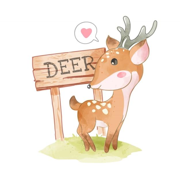 Piccola illustrazione di legno sveglia del segno dei cervi e dei cervi