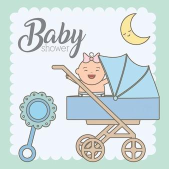 Piccola neonata sveglia in carretto