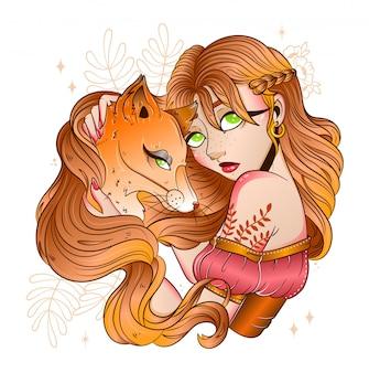 Piccola principessa della foresta con una volpe rossa