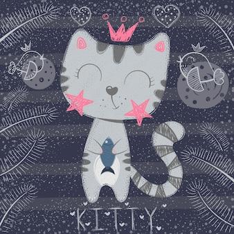 Piccola principessa sveglia - gatto divertente