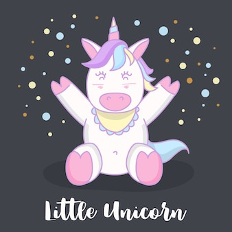 Piccola progettazione dell'illustrazione del personaggio dei cartoni animati dell'unicorno del bambino