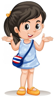 Piccola ragazza asiatica con borsetta