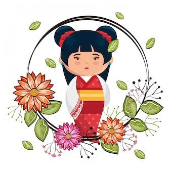 Piccola ragazza giapponese kawaii con carattere di fiori