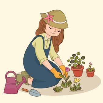 Piccola ragazza, giardinaggio