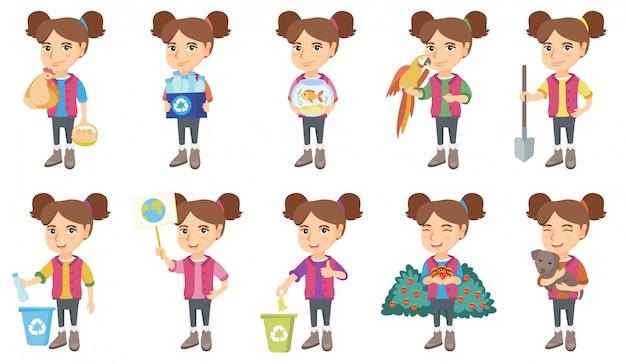 Piccola serie di caratteri caucasica della ragazza