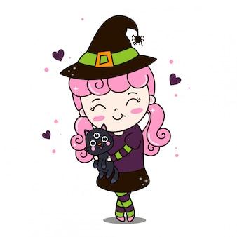 Piccola strega kawaii con abbracci di capelli rosa gatto nero a tre occhi.