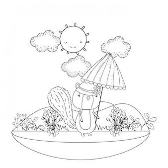 Piccola tamia sveglia con l'ombrello nel campo