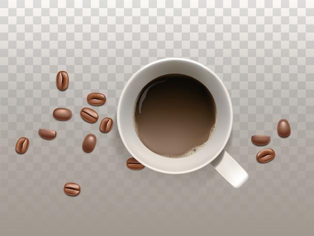 Piccola tazza di caffè realistica 3d con i chicchi di caffè