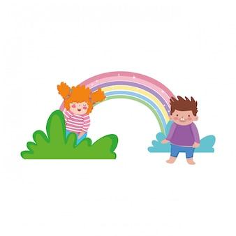 Piccole coppie paffute con arcobaleno nel paesaggio