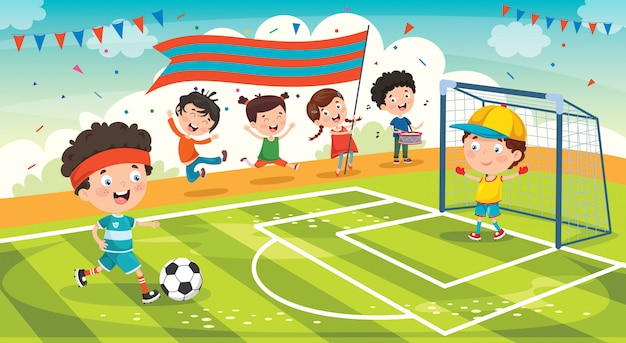Piccoli bambini che giocano a calcio fuori