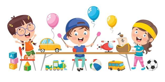 Piccoli bambini che giocano con i giocattoli