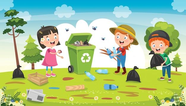 Piccoli bambini che puliscono e che riciclano immondizia