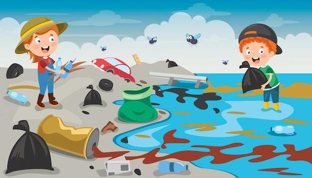 Piccoli bambini che puliscono la spiaggia