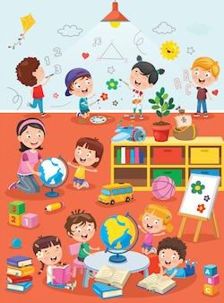 Piccoli bambini che studiano e che giocano all'aula prescolare