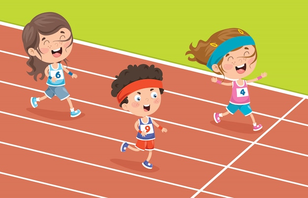 Piccoli bambini divertenti che corrono fuori
